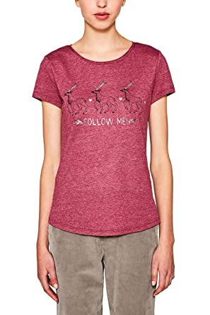 44ffed76ce94f0 edc by Esprit Women's 117cc1k007 T-Shirt, Red (Plum 5 609), Medium: Amazon. co.uk: Clothing