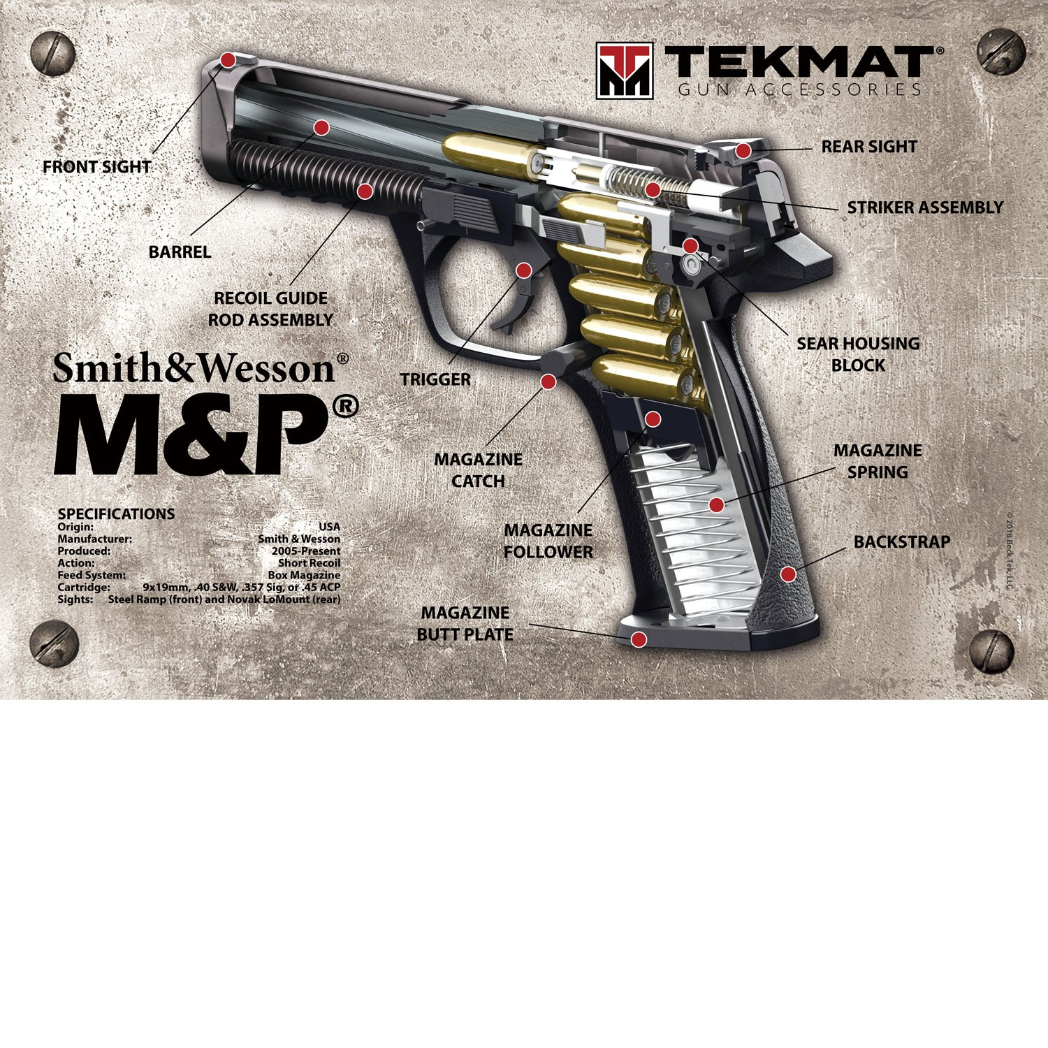 amazoncom tekmat smith wesson mp 3d cutaway poster 24 x 36