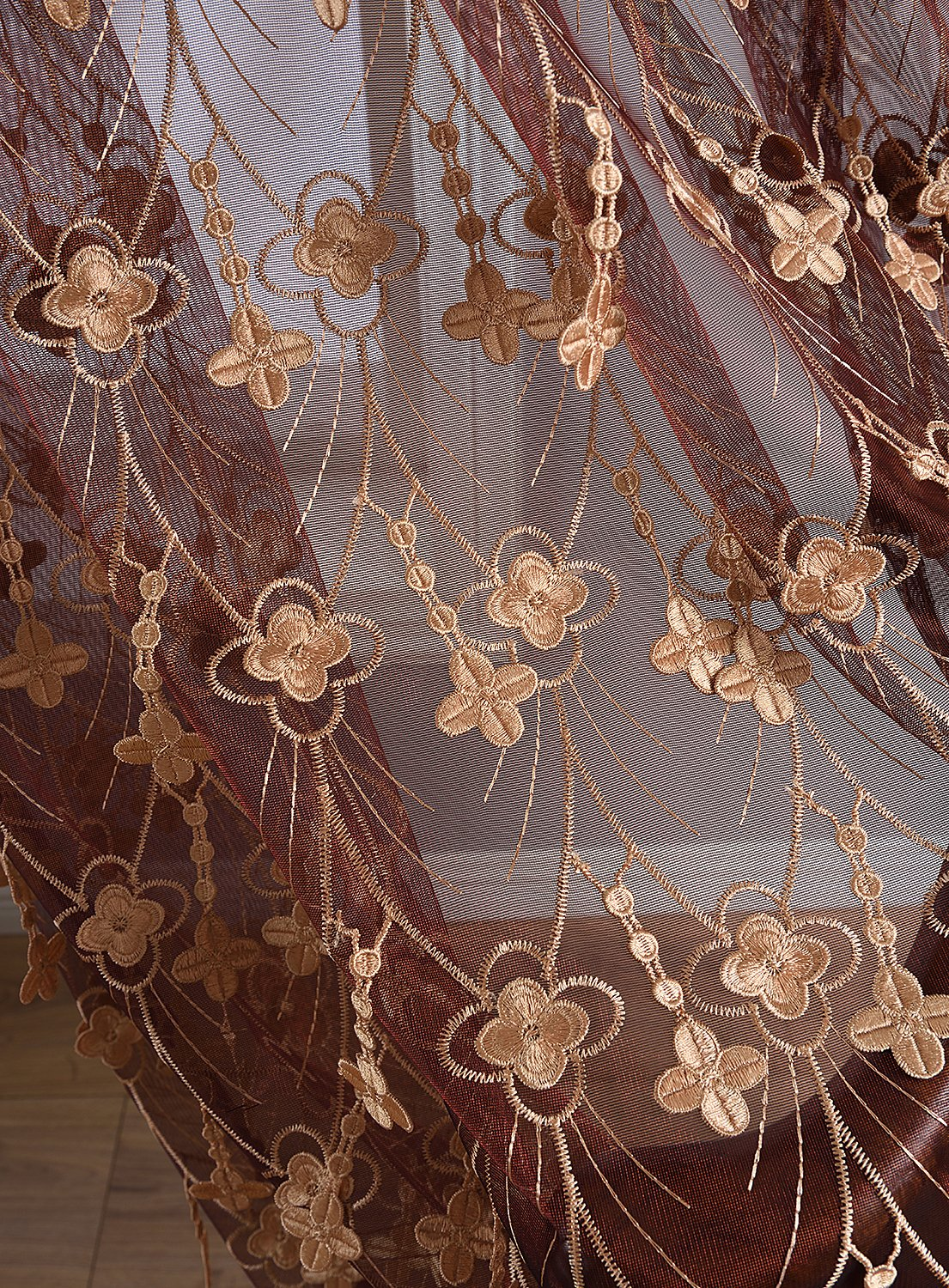 Aside Bside 4 Petals Floral Embroidered Sheer Curtains with Draping Embroidery Decorations Rod Pocket Top Brilliant Design (1 Panel, W 52 x L 104 inch, Red 6) -1281638521048506C1PGC by Aside Bside (Image #2)