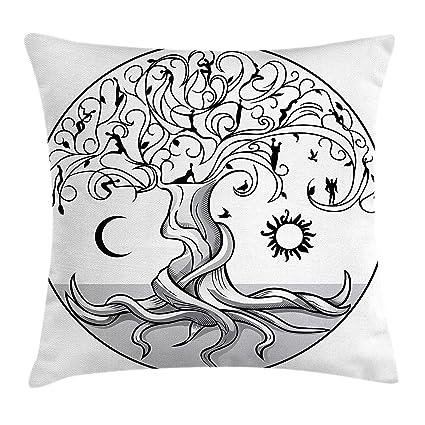 Amazon.com: Sun and Moon Throw Pillow Cushion Cover, Ancient ...
