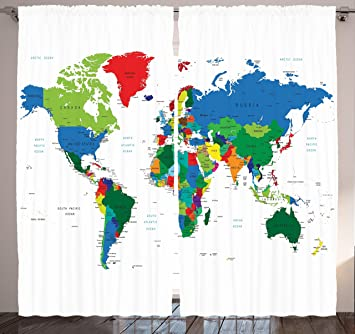 Amazoncom Globe Decor Curtains by Ambesonne Map of World With