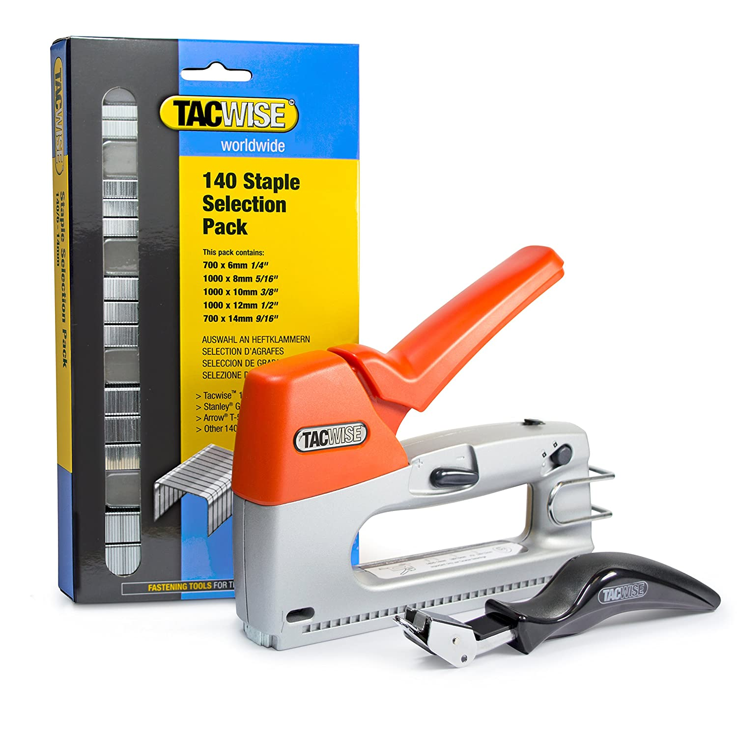 Tacwise Z3-140 Heavy Duty Hand Tacker/Staple Gun for 1/4, 5/16, 3/8, 1/2 and 9/16 Inches Long Staples, Silver/Orange (0806)