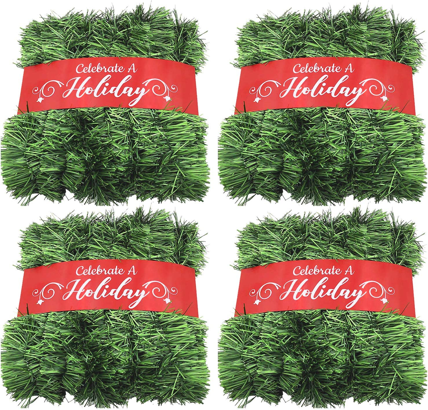 50 Foot Garland for Christmas Decorations - Non-Lit Soft Green Holiday Decor for Outdoor or Indoor Use - Premium Quality Home Garden Artificial Greenery, or Wedding Party Decorations (Pack of 4)