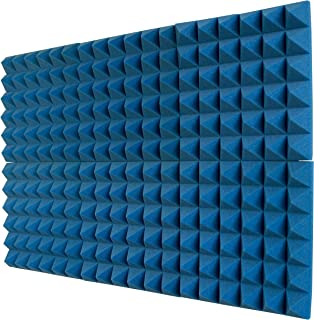 """product image for Foamily 6 Pack - Ice Blue Acoustic Foam Sound Absorption Pyramid Studio Treatment Wall Panels, 2"""" X 12"""" X 12"""""""