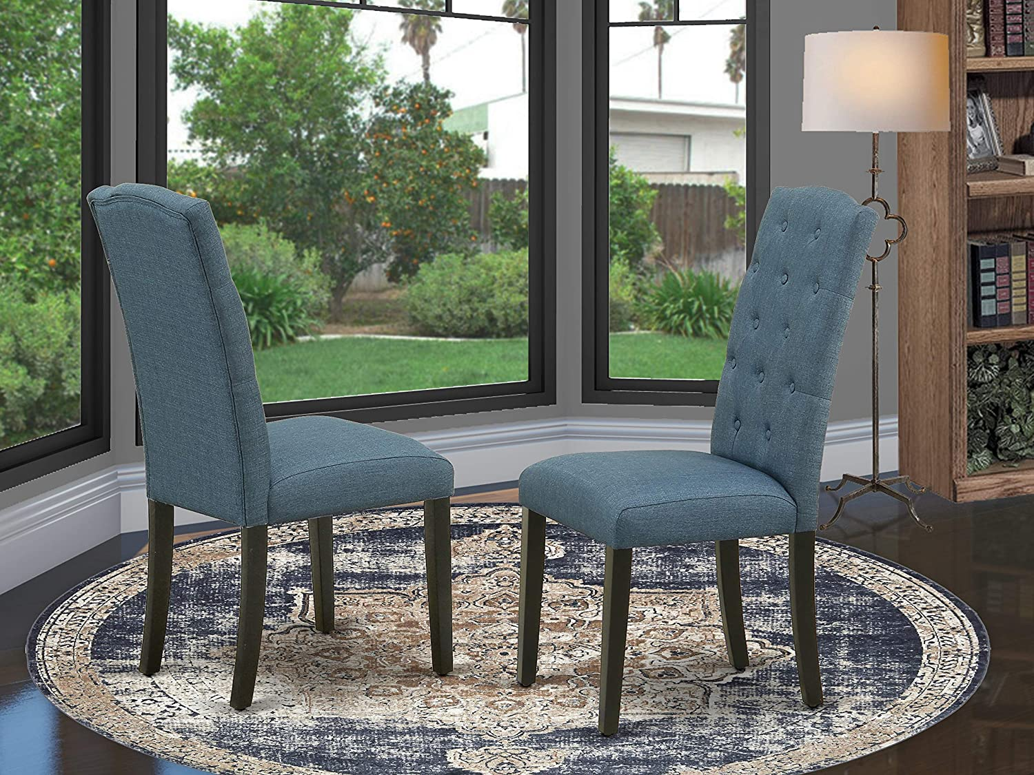 East West Furniture Celina Dining Chairs - Blue Color Linen Fabric, Wooden Black Finish Legs Modern Parsons Dining Room Chairs - Set of Two