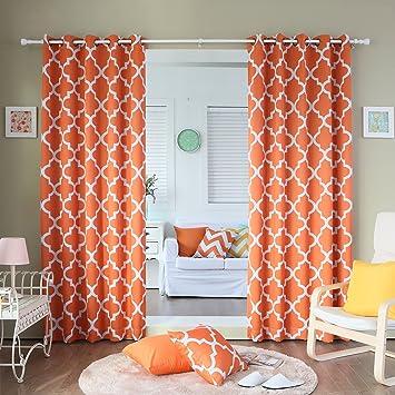 Best Home Fashion Room Darkening Blackout Moroccan Print Curtains Antique Bronze Grommet Top Orange