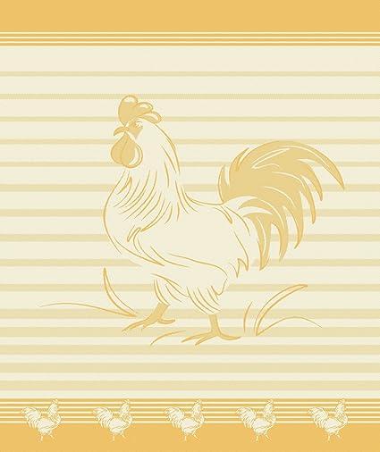 Mierco European Linens 8Rt-Rooster Yellow Jacquard Tea Towel 20 x 28