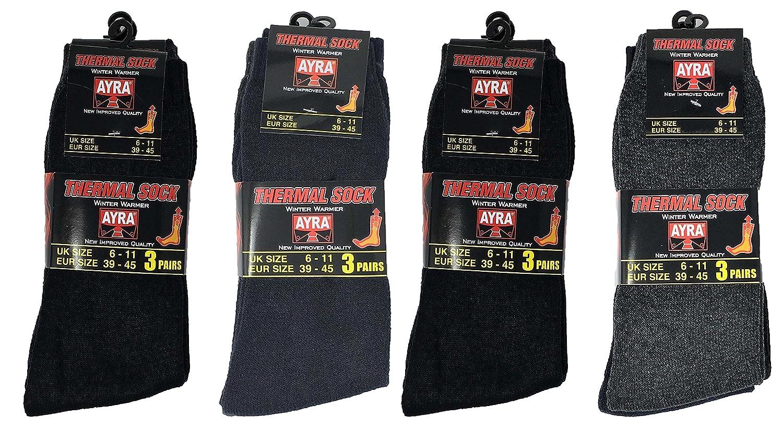 12 Pairs Mens Thermal Socks / Size 6 - 11 2V-HVC2-932U
