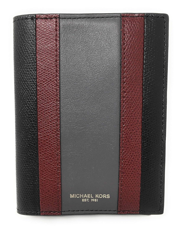 01fe4af2d4 Details about NWT Michael Kors Mens Warren Leather Passport Card Holder  Black 36T7LWRV1T