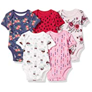 Rosie Pope Girls Baby 5 Pack Bodysuits, Flowers, 0-3 Months