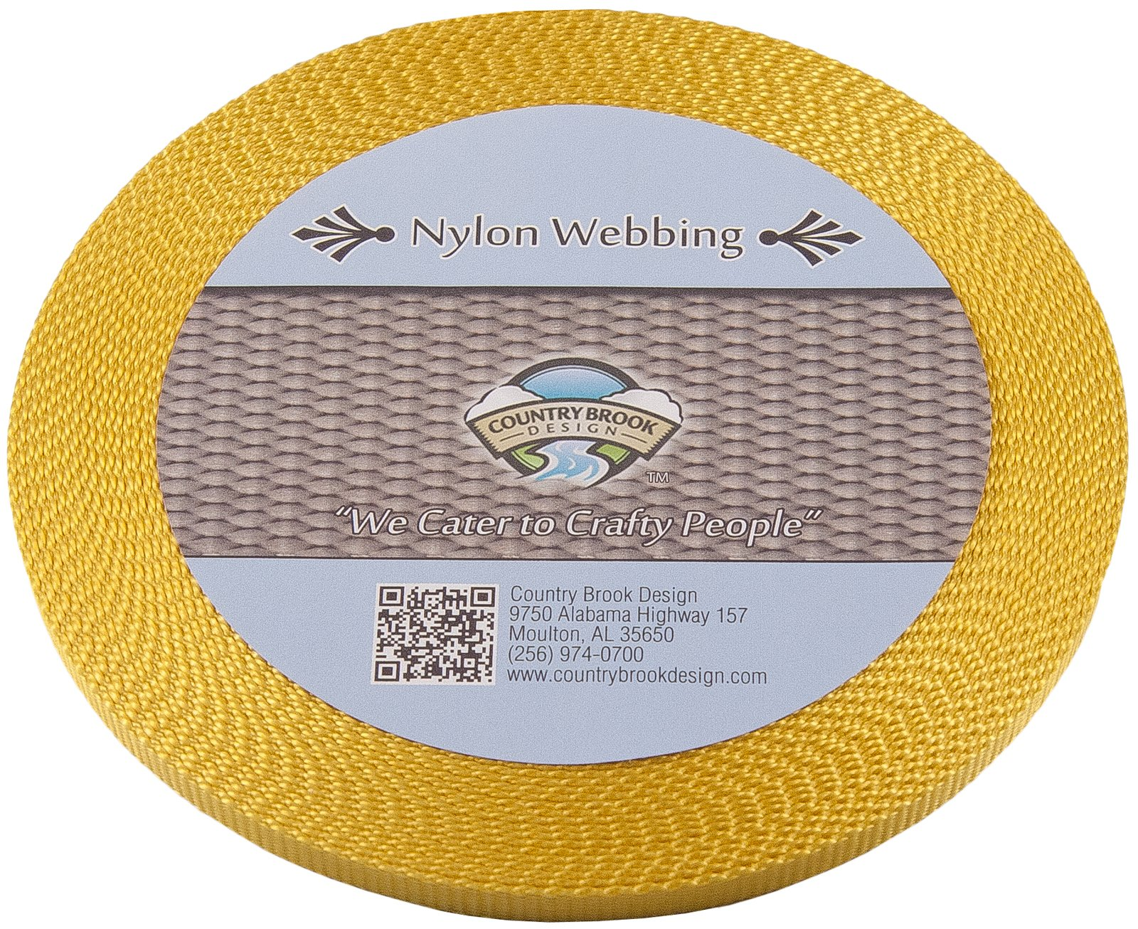 Country Brook Design 3/8 Inch Gold Heavy Nylon Webbing, 10 Yards