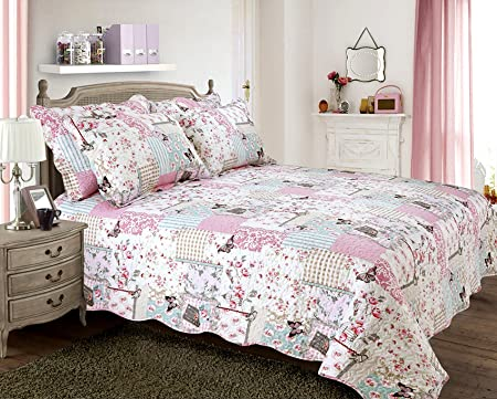 Velosso Quilted Vintage Shabby Chic Vintage Birds Boutique Bedspread ...