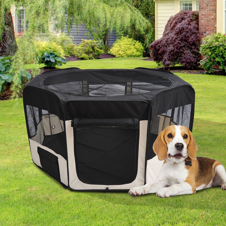 Pawhut, Parque Mascotas Plegable, 2 Puertas, Juego Entrenamiento Dormitorio: Amazon.es: Productos para mascotas