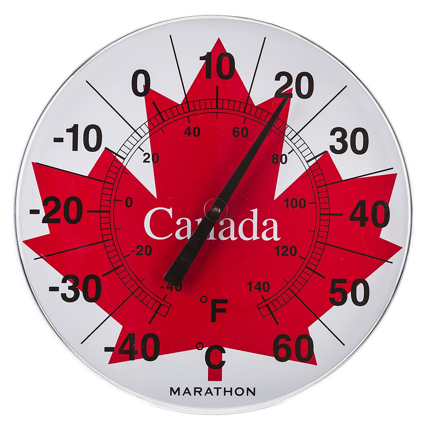 Marathon Housewares BA030002-ML Canadian 12 Indoor/Outdoor Dial Thermometer - Jumbo Maple Leaf