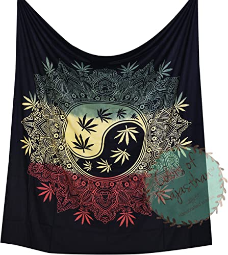 COR s Marijuana Weed Leaf Tapestry Queen Cannabis Tapestries Hippie Black Rasta Dye Mandala Leaf Wall Hanging Gypsy Wall Decor 92 x 82 Inches