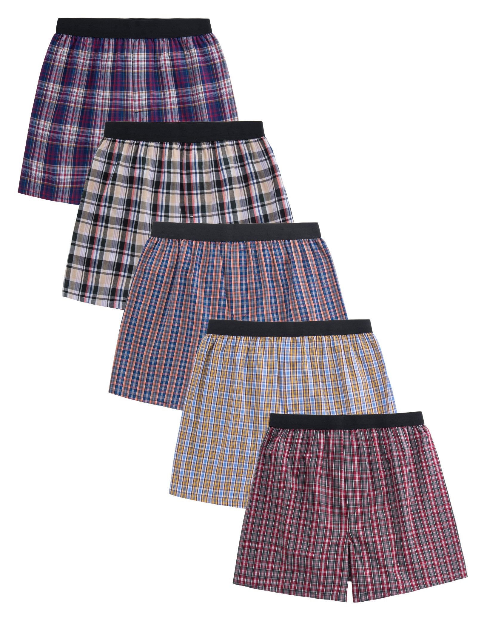 CYZ 5-Pack Men's 100% Cotton Woven Boxers Value Pack-Assorted-S