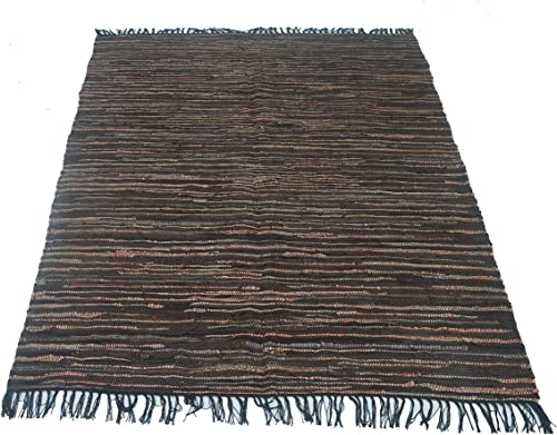 Chardin Home Eco Friendly 100 Recycled Leather Area Rug, Tan Brown – 5 X7 .