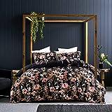 """GETIANN Black Floral Duvet Cover Set King Comforter Cover Set 3 Pieces Bedding (1 Comforter Cover 90""""x104"""" 2 Pillow…"""