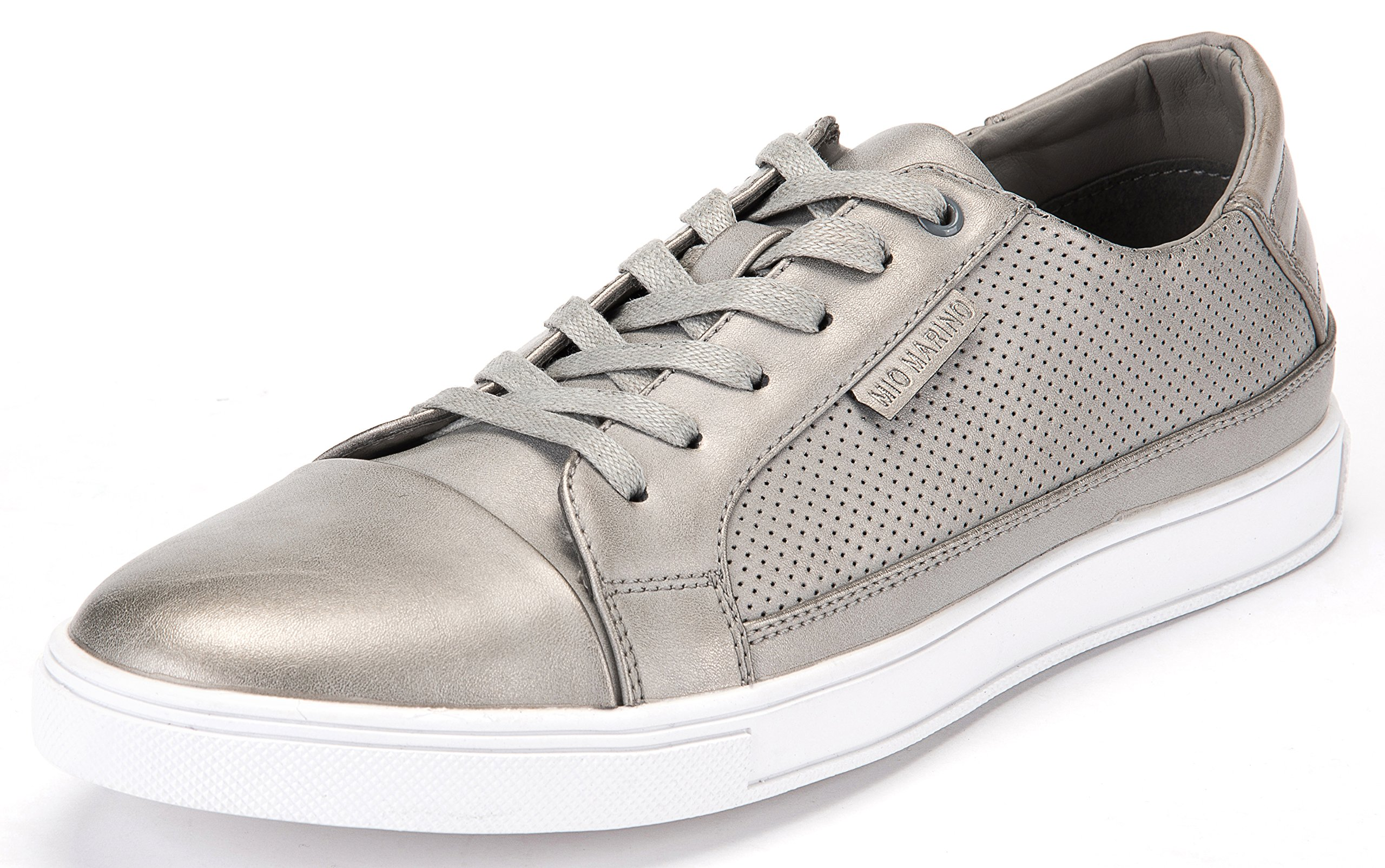 Mio Marino Leather Sneakers for Men - Low Top Mens Fashion Sneakers - Misty Gray - Size US 9.5 | UK 9 | EU 42-43