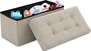 "Ornavo Home Foldable Tufted Linen Large Storage Ottoman Bench Foot Rest Stool/Seat - 15"" x 30"" x 15"" (Beige)"