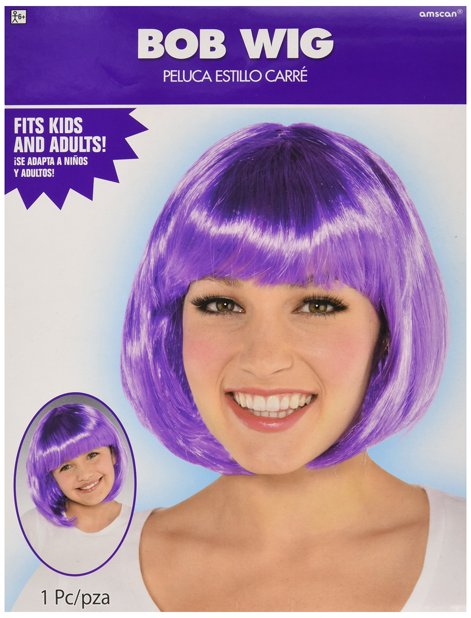 Amscan Purple Bob Party Wig Costumes, 6 Ct.