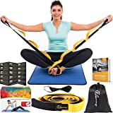 Stretching Strap Band with loops for Therapy, Fitness, Pilates Exercises, Yoga and Athletes, stretch strap - by clanno