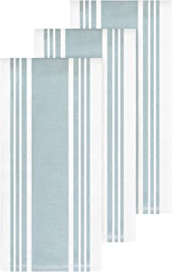 All-Clad Textiles Cotton Kitchen Towels with Dual Woven Stripes, Reversible, Highly Absorbent, Inhibits Bacterial Odors, 17-inch by 30-inch, 3-Pack, Rainfall