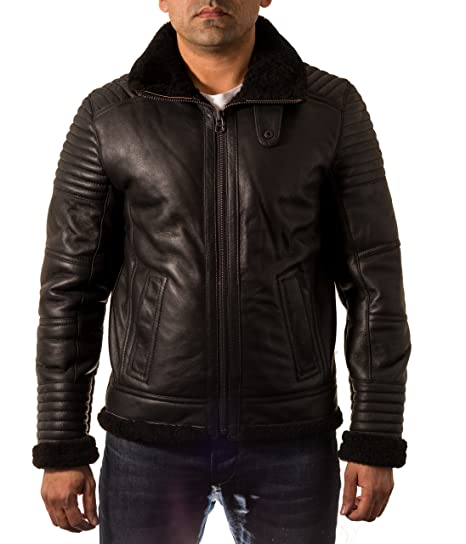 8f00a428c Mens Black Sheepskin Quilted Fitted Warm Zipped Flying Short Bomber ...