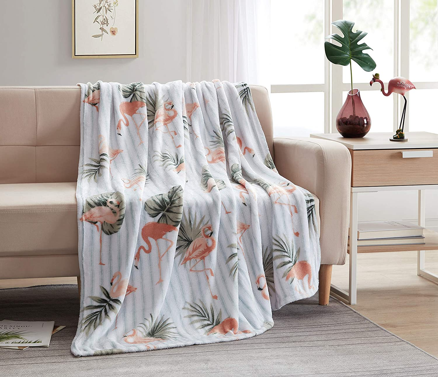 Morgan Home Fashions Luxury Velvet Plush Throw Blanket 2 Sizes- Soft, Lightweight, Cozy, Comfy and Warm for Use All Year Round and Any Season (Flamingo Bay, 50x60)