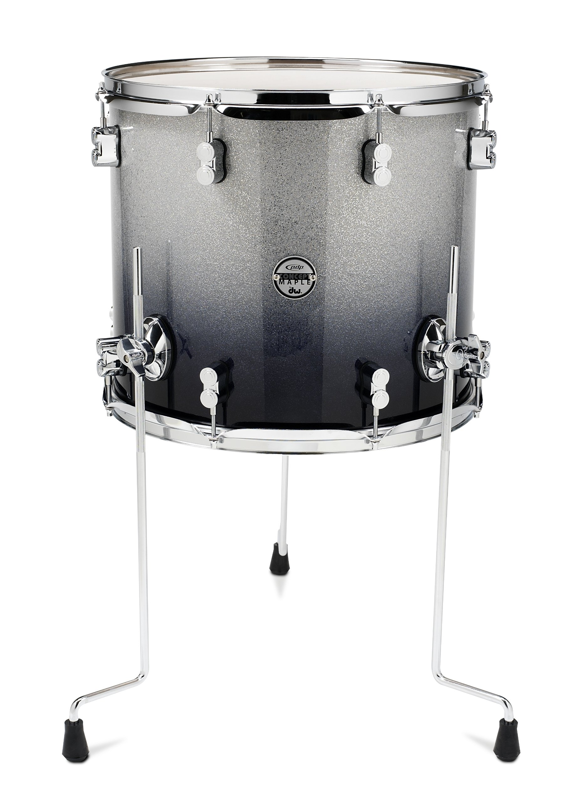 Pacific Drums PDCM1618TTSB 16 x 18 Inches Floor Tom with Chrome Hardware - Silver to Black Fade