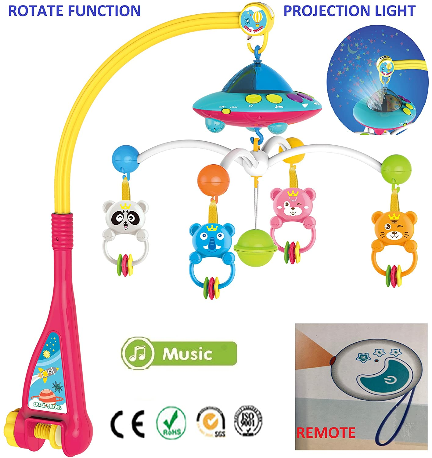 Baby Soft Musical Bed Cot Mobile Stars Dreams Projection Nusery Lullaby Animals Hang Huanger