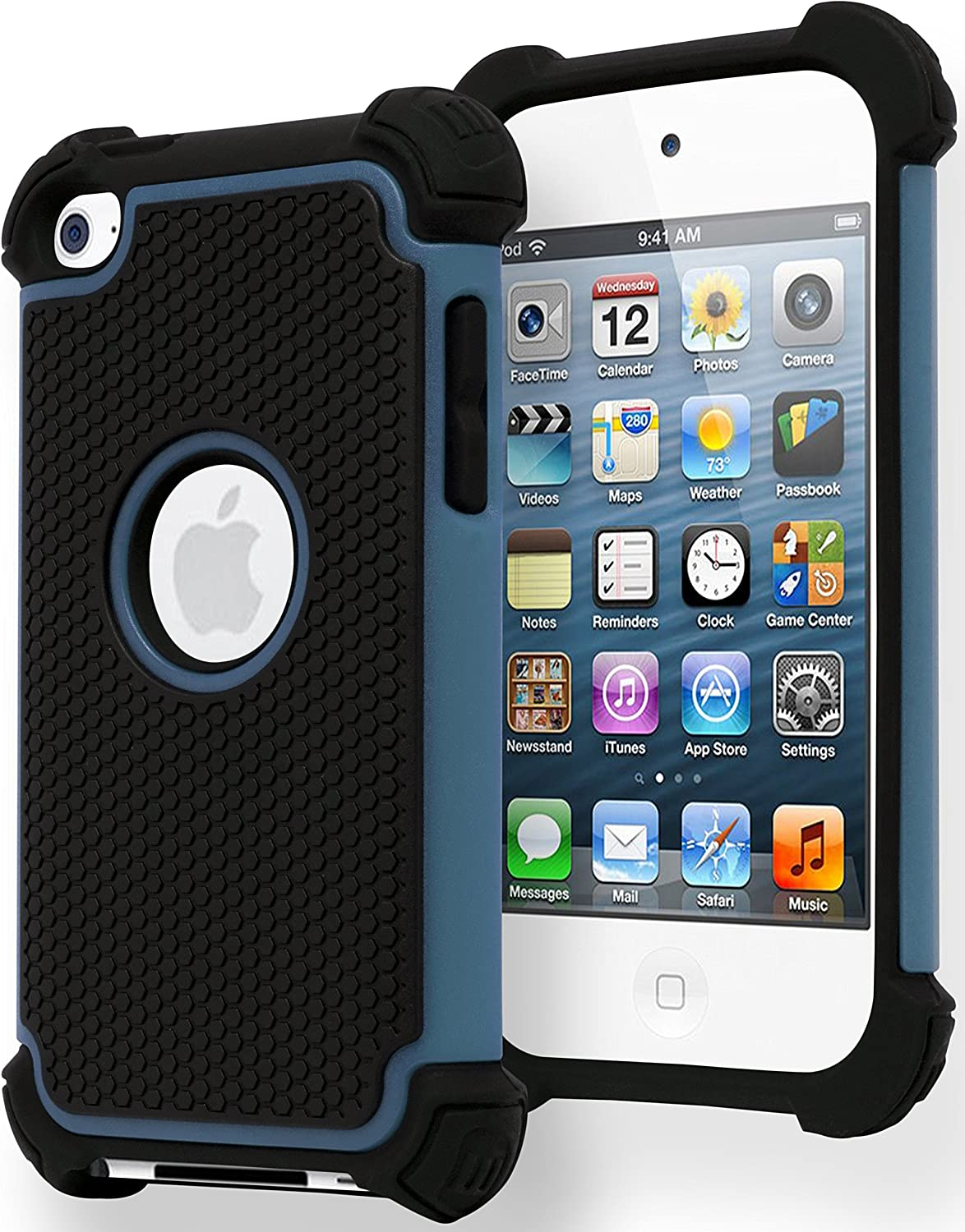 iPod Touch 4 Case, Bastex Hybrid Slim Fit Black Rubber Silicone Cover Hard Plastic Blue & Black Shock Case for Apple iPod Touch 4, 4th Generation