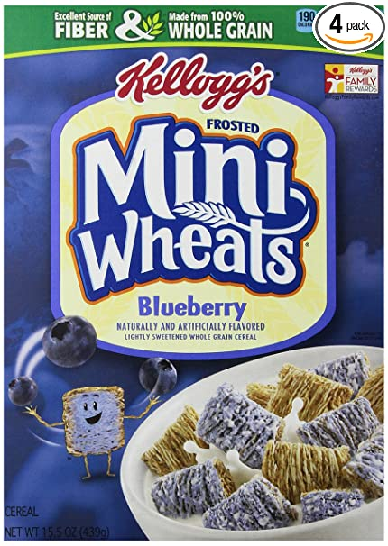 Amazon Com Kellogg S Frosted Mini Wheats Bite Size Blueberry Muffin 15 5 Ounce Pack Of 4 Cold Breakfast Cereals