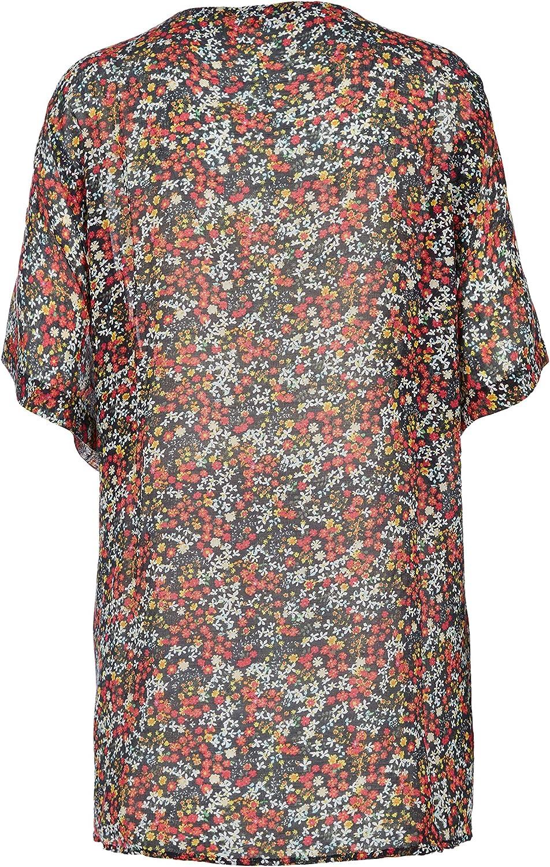 s.Oliver RED LABEL Damen Zarter Poncho mit floralem Print marine AOP 1