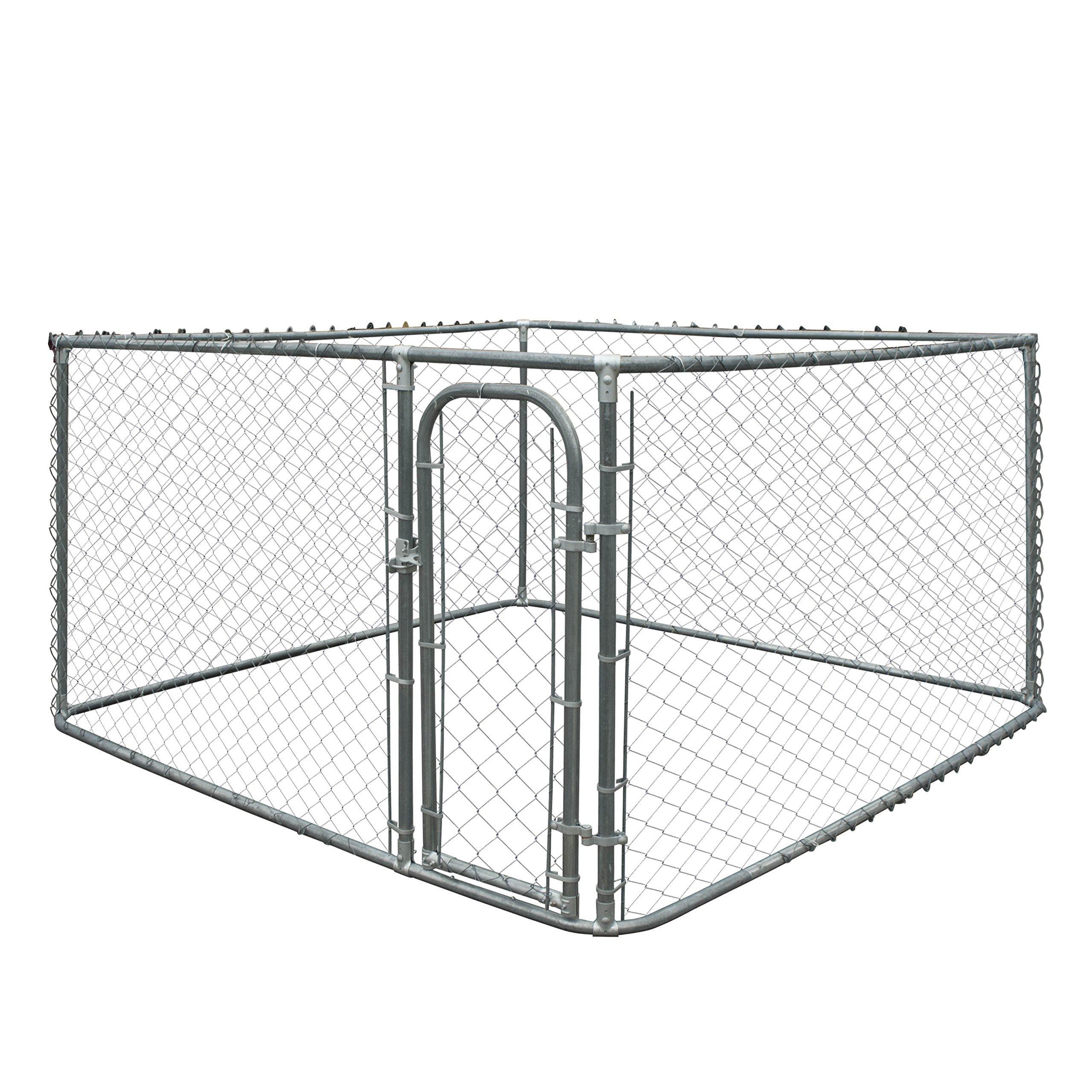 ALEKO DK7X7X4 Pet System DIY Box Kennel Chain Link Dog Kennel Playpen Chicken Coop Hen House 7.5 x 7.5 x 4 Feet