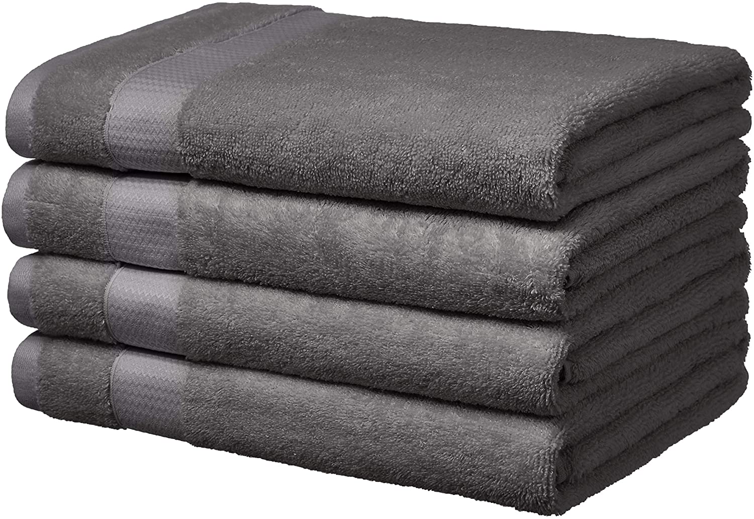 AmazonBasics Everyday Bath Towels, Set of 4, Powder Grey, 100% Soft Cotton, Durable