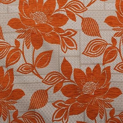 Color naranja floral chenilla hojas parche trabajo sofá ...