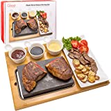 Cooking Stone- Lava Hot Steak Stone Plate and Cold Lava Rock Hibachi Grilling Stone w Ceramic Side Dishes and Bamboo Platter