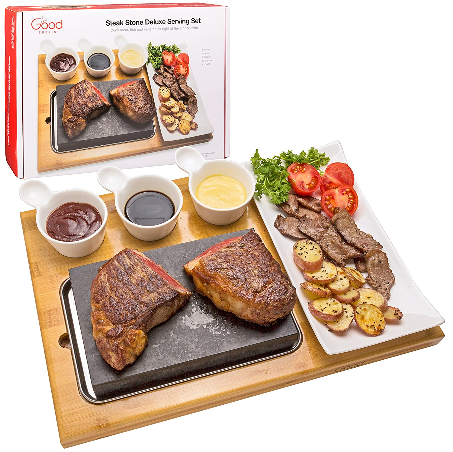 Cooking Stone- Complete Set Lava Hot Steak Stone Plate Tabletop Grill and Cold Lava Rock Hibachi Grilling Stone w Ceramic Side Dishes and Bamboo Platter