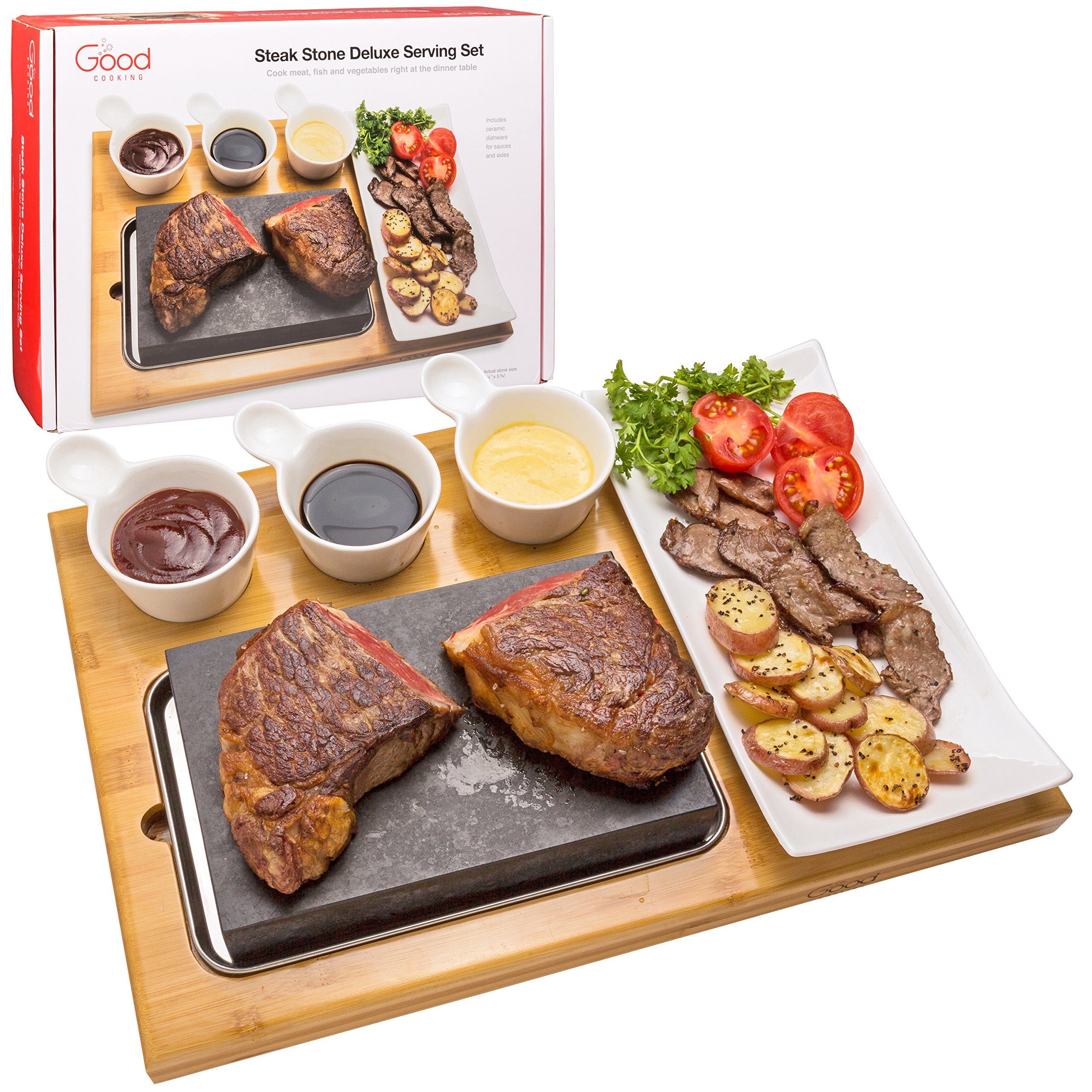 Cooking Stone- Complete Set Lava Hot Steak Stone Plate Tabletop Grill and Cold Lava Rock Hibachi Grilling Stone (8 1/8'' x 5 3/16'') w Ceramic Side Dishes and Bamboo Platter