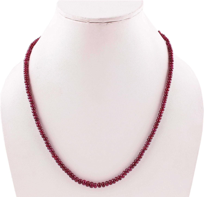 Neerupam Collection Natural rubí teñido Collar de perlas de piedras preciosas para mujeres y niñas