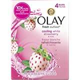 Olay Fresh Outlast Cooling White Strawberry and Mint Beauty Bar, 4 Count, Packaging May Vary