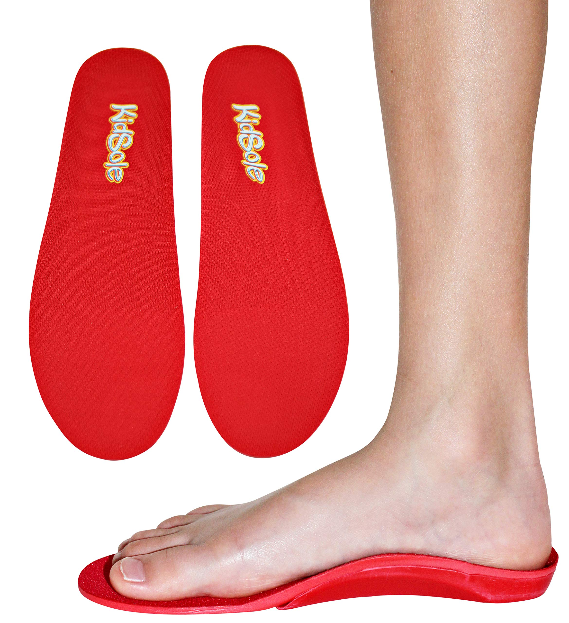 Red Orthotic Sports Insole by KidSole -- Lightweight Soft & Sturdy Orthotic Technology For Active Children With Flat Feet and Other Arch Support Problems (US Kids Sizes 4-6 (24 CM)) by KidSole