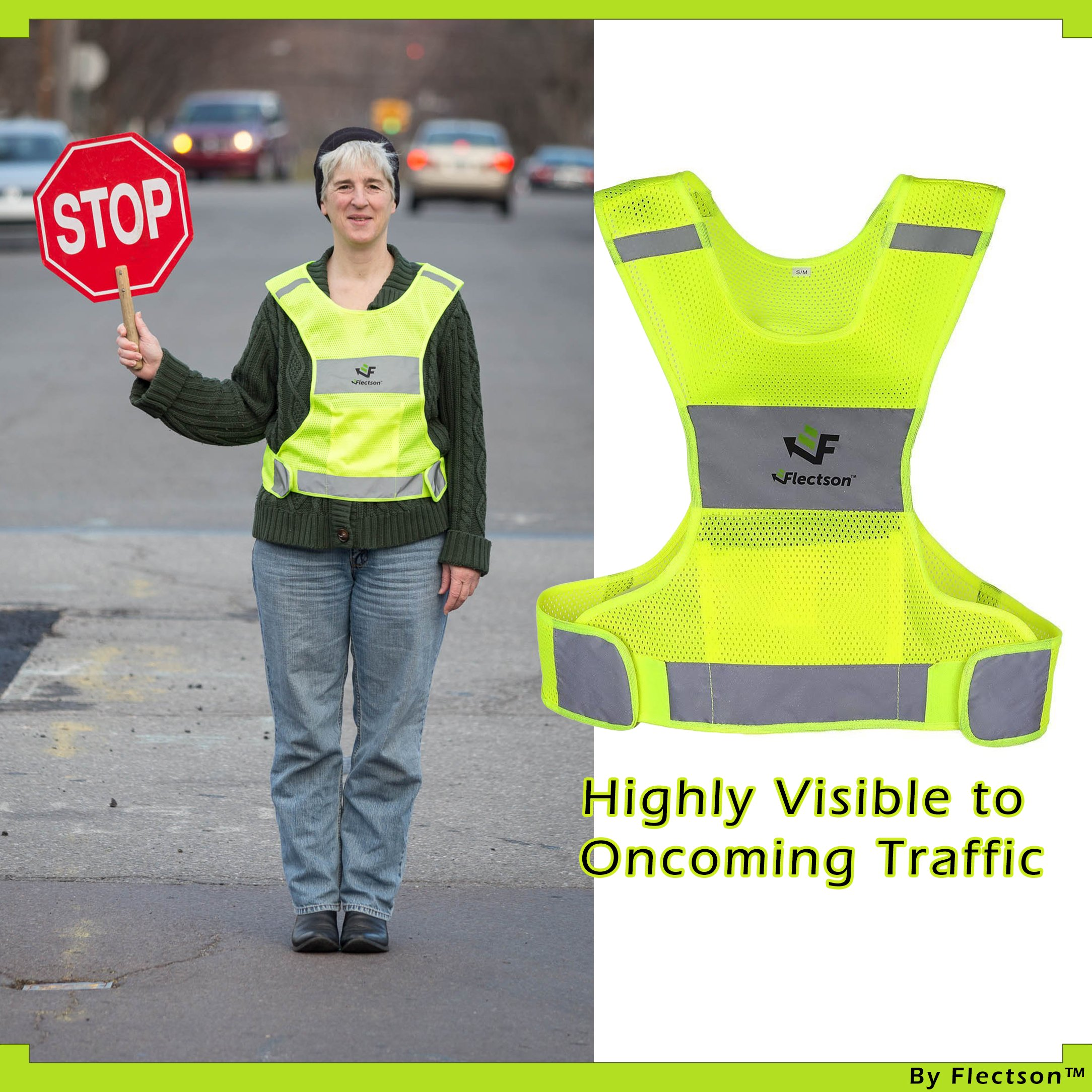Reflective Vest for Running or Cycling (Women and Men, with Pocket, Gear for Jogging, Biking, Motorcycle, Walking) (Extra Large) by Flectson (Image #3)