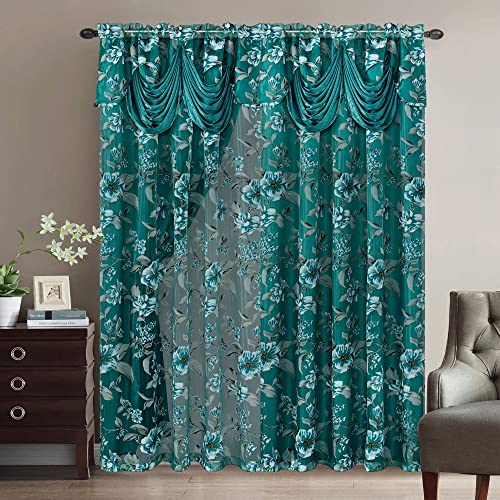 GOHD Golden Ocean Home Decor Roman Romance. Burnt-Out Printed Organza Window Curtain Panel Drape with Attached Fancy Valance and Taffeta Backing Teal Green, 55 x 84 inches Attached Valance x 2pcs