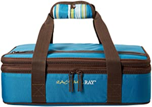 "Rachael Ray Expandable Lasagna Lugger, Double Casserole Carrier for Potluck Parties, Picnics, Tailgates - Fits two 9""x13"" Casserole Dishes, Marine Blue Stripe"