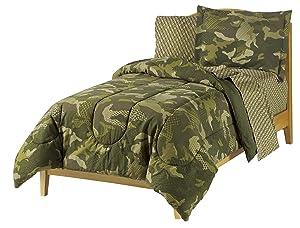 Dream Factory Geo Camo Army Boys Comforter Set, Green, Full