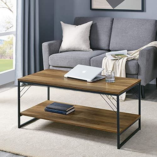Walker Edison Furniture Company Modern Metal and Wood Corner Rectangle Coffee Table Living Room Ottoman Storage Shelf, 40 Inch, Reclaimed Barnwood