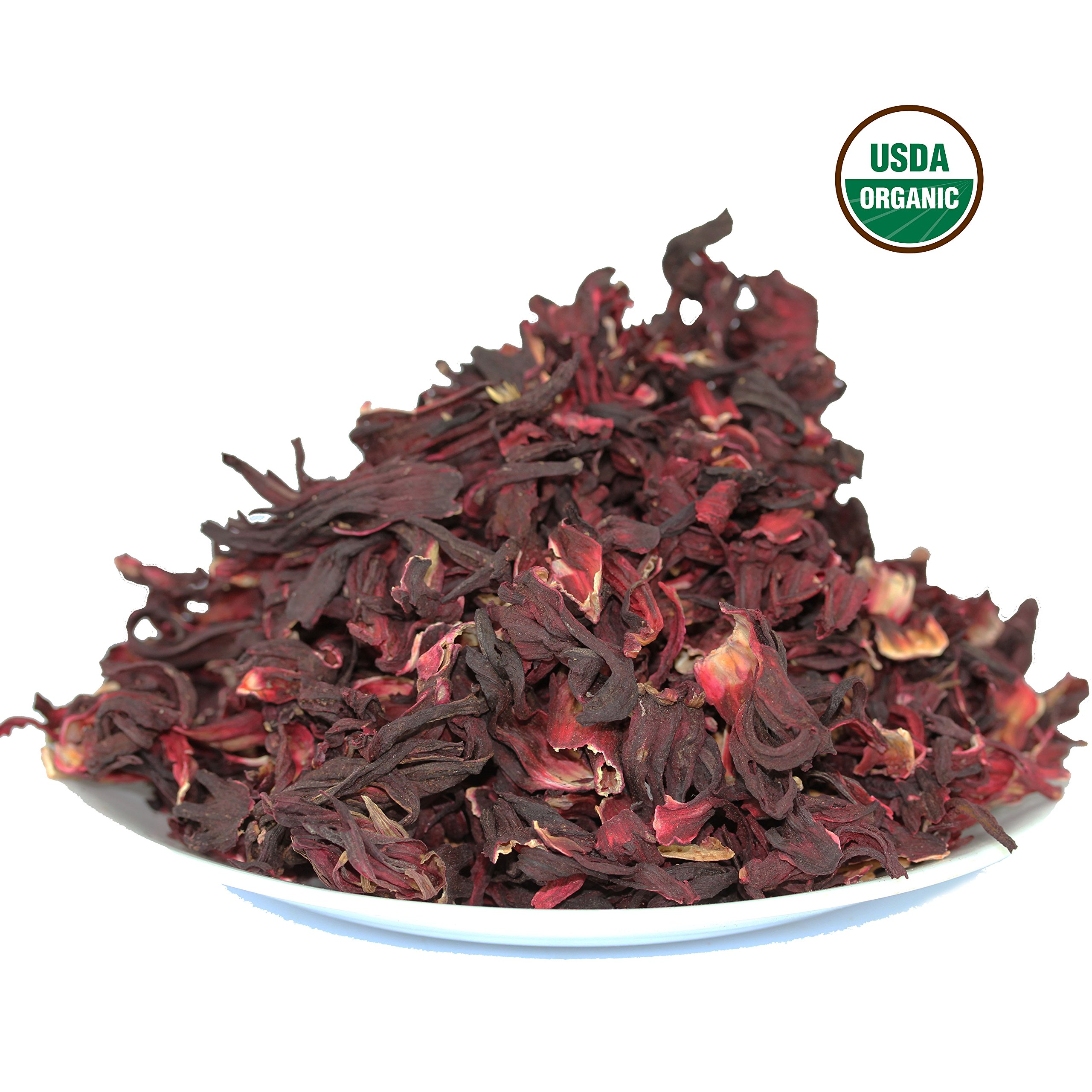 Hibiscus Tea 1LB (16Oz) 100% CERTIFIED Organic Hibiscus Flowers Herbal Tea (WHOLE PETALS), Caffeine Free in 1 lbs. Bulk Resealable Kraft BPA free Bags from U.S. Wellness by U.S. Wellness Naturals (Image #3)