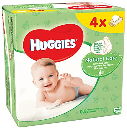 Huggies Natural Care Toallitas para Bebé - Paquetes de 4 x 56 Unidades - Total: